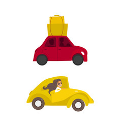 travelling car girl driving set vector image