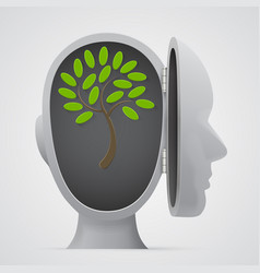 Tree growing inside a head silhouette vector