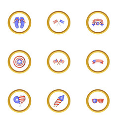 usa patriotic holiday icons set cartoon style vector image