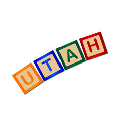 Utah wooden block letters vector