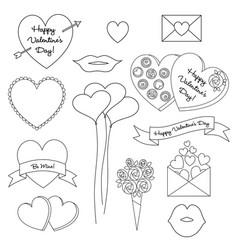 valentines digital stamps vector image