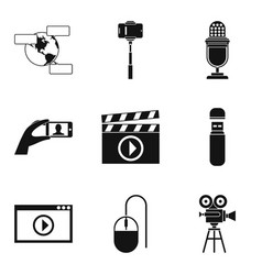 video fragment icons set simple style vector image