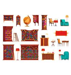 Vintage library icon set vector