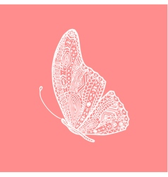 White hand drawing doodle butterfly vector