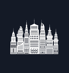 White silhouette modern big city vector