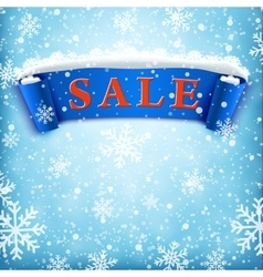 Winter sale background with BLUE realistic ribbon vector image