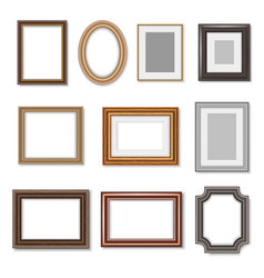 Wooden photo frames and picture golden borders vector
