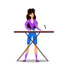 young woman musician playing synthesizer vector image