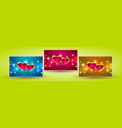 banners hearts valentine vector image vector image