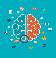 brain with icons concept for web and mobile apps vector image vector image