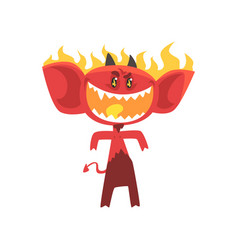 cartoon flaming fire devil isolated on white vector image vector image