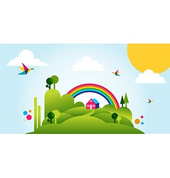 Happy spring time landscape background vector image vector image