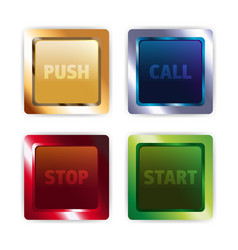 metal colorful square buttons vector image vector image