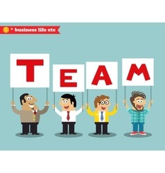 Office personnel holding team sign vector image