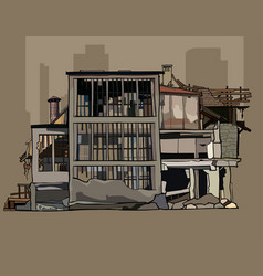 Painted dilapidated three storey building in ruins vector
