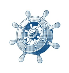 Ship wheel marine tattoo vector image vector image