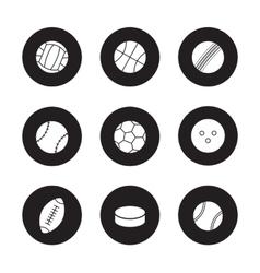 Sport balls black icons set vector image