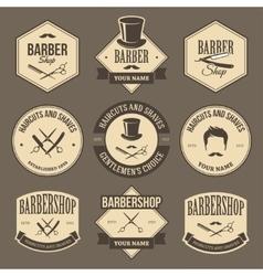 Vintage barbershop labels vector image
