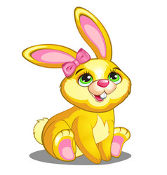 Cute yellow bunny with pink bow and ears vector image