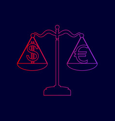 justice scales with currency exchange sign vector image