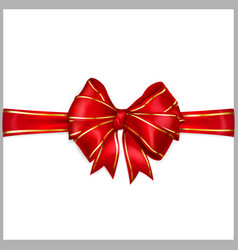 Red bow with horizontal ribbons with golden strips vector