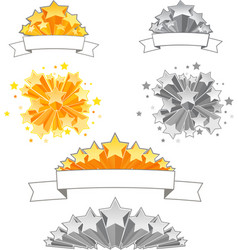Set of 3D Stars with Ribbons vector image vector image