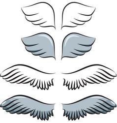 set of cartoon wings vector image vector image