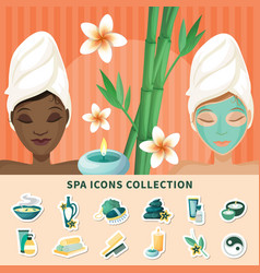 spa resort flat icons collection vector image