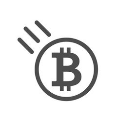 bitcoin sign icon - price go down and falling vector image vector image