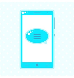 Blue mobile phone with speech buble vector image vector image