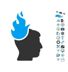 Fired Head Icon With Copter Tools Bonus vector image vector image