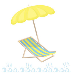 beach umbrella and sun lounger rest on the sea vector image