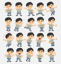 cartoon character asian boy in jeans set with vector image
