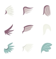 Feather wing bird icons set cartoon style vector image vector image