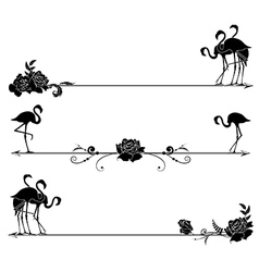 Set borders with flamingo and roses vector