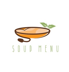 soup menu design template with leaf and bowl vector image