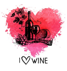 Wine vintage background with banner vector image vector image