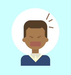 African american male screaming emotion profile vector