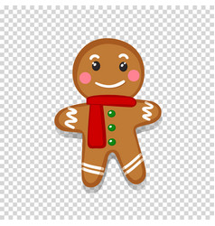 an isolated gingerbread man on transparent vector image