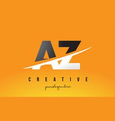 Az a z letter modern logo design with yellow vector