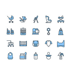 Baby items flat line icons set blue color vector