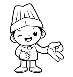 black and white executive chef mascot money vector image