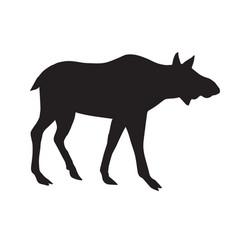Black silhouette female moose cow vector