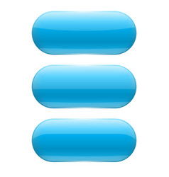 blue oval glass buttons vector image