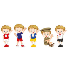 boy with happy face in different costumes vector image