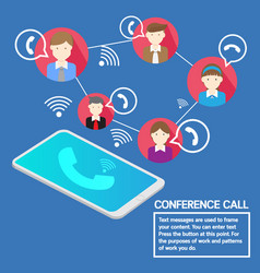 business team concept smartphone conference call vector image vector image