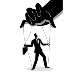 businessman being controlled puppet master vector image
