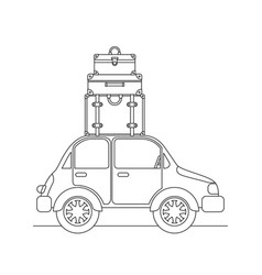 Car with set suitcases travel vector