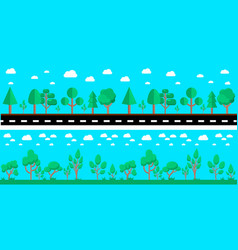 cartoon city landscape with road and trees design vector image