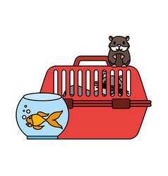 cat on cage hamster and goldfish vector image